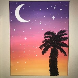 sunset and moon painting